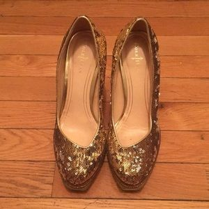 Gold sequin stilletoes